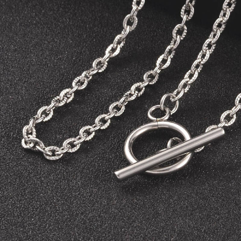 "Stainless Steel Necklace Cross Chain with Toggle Clasp - 17.5"" - N249"