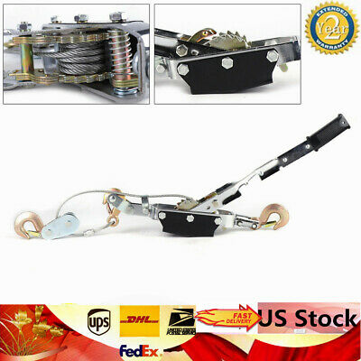5 Ton Steel Wire Rope Ratchet Hand Power Puller Tighten Tool 3 Hooks 2 Gears Usa