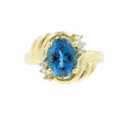 Estate Classic 14K Yellow Gold Blue Topaz Diamond 2.37CTW Cocktail Ring