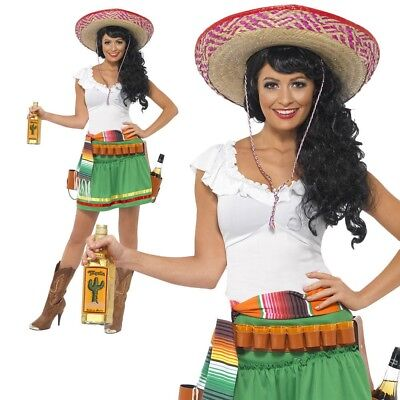 Mexican Tequila Shooter Girl Costume Cowgirl Womens Fancy Dress Outfit New
