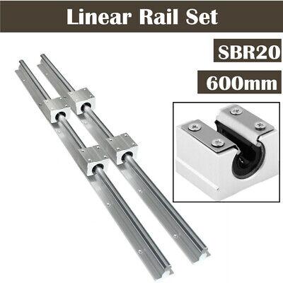 2Pcs SBR20 600mm Linear Rail Slide Guide Shaft ROD + 4X SBR20UU Blocks Bearing