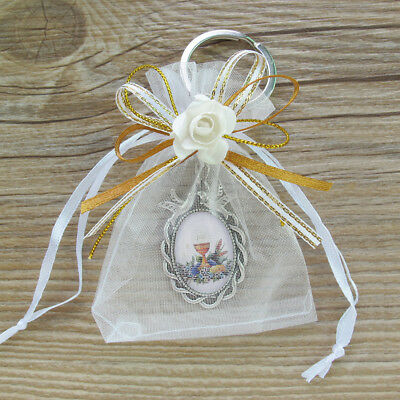 12 Pcs First communion keychain with Favor Bags for Boy,Girl, Primera - First Communion For Boy