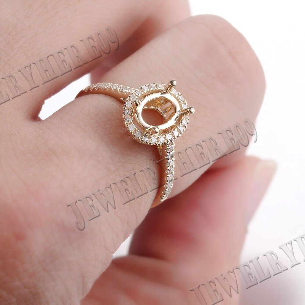 14K Yellow Gold Semi Mount Engagement Natural SI/H Diamonds Fine ...