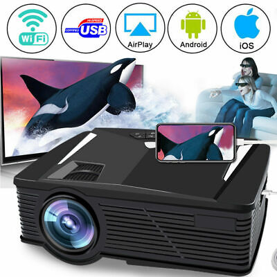 WiFi 4K 3D Android 1080P LED Projector Home Theater 2200Lumen Games HDMI/USB/SD