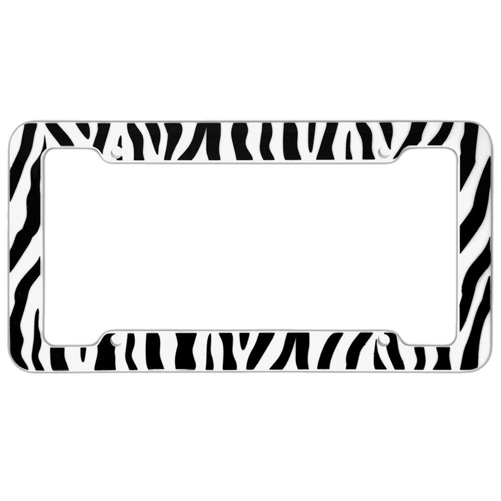 UAA® 1 ZEBRA PRINT Black//White Plastic License Plate Frame for car truck suv van