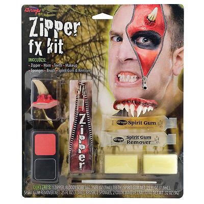 Halloween Makeup Zipper Face (Devil Zipper Face Kit Zip Teeth Fangs Horns Special FX Halloween Makeup)