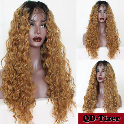 Ladies Long Curly Wave 180% Full Hair Wigs Ombre Blonde Synthetic Lace Front Wig