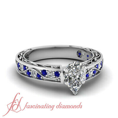 1.15 Ct Pear Shaped Diamond & Blue Sapphire Engagement Ring 14K Gold VVS1 GIA