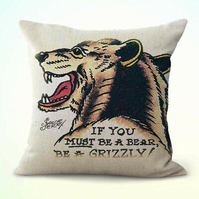 US Seller- Sailor Jerry grizzly bear cushion cover ideas for home interiors (Sailor Ideas)