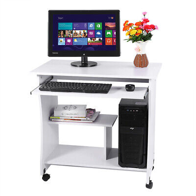 White Computer Desk Home Office PC Table Workstation w/ Storage Shelves Unit UK