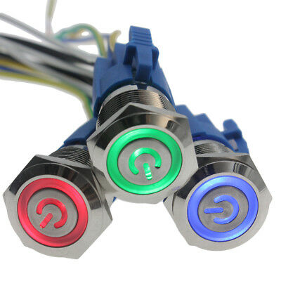 19mm 12v Led Power Symbol On-off Car Push Button Switch Latch Metal High Quality