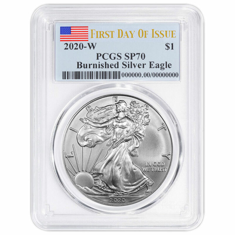 Presale - 2020-W Burnished $1 American Silver Eagle PCGS SP70 FDOI Flag Label