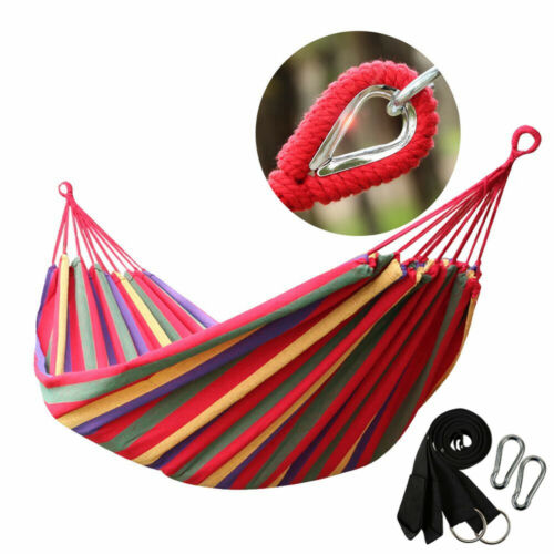 Double 2 Person Cotton Rope Hanging Hammock Swing Camping Ca