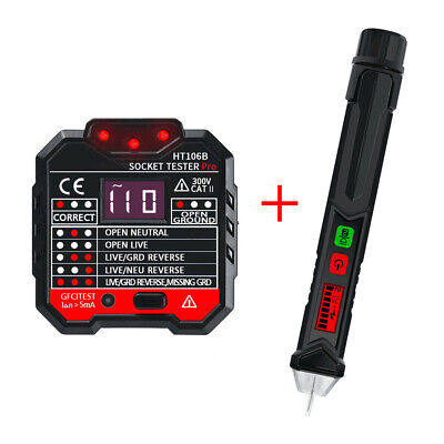 Ht106b 48250v Electric Socket Outlet Tester Test Voltage Detector Lcd Pen Us