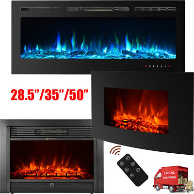 LED Electric Fireplace Recessed Insert Wall Mounted Multicolor Flame -