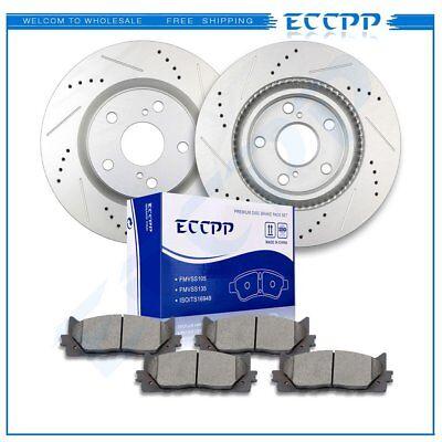 Front Drill Slot Brake Rotors Ceramic Pads For Lexus ES300h Toyota Avalon - Lexus Es300 Front Brake