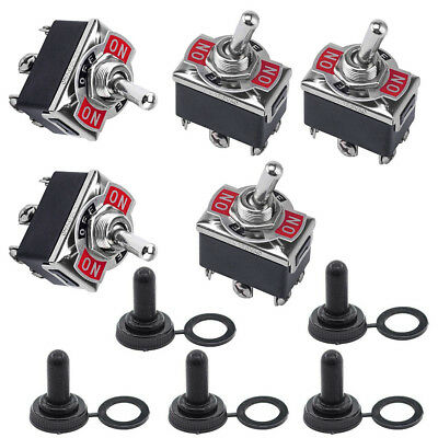 5x 3 Position 6 Terminal On/Off/On DPDT Toggle Switch + Waterproof Boot Quality