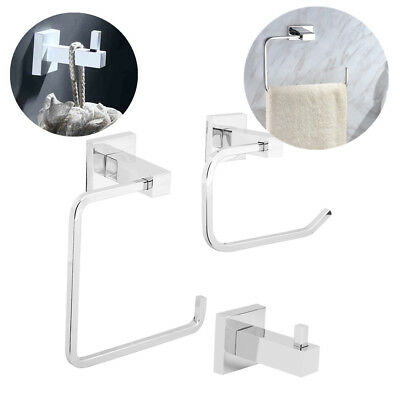 - 3 Piece Chrome Bathroom Accessory Set Toilet Roll Holder Hardware Towel Bar US