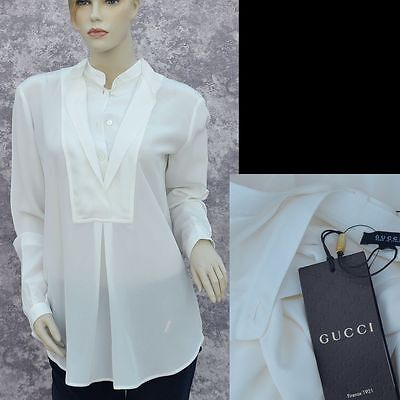 GUCCI New sz 38 - 2 Authentic New Womens Top Shirt Blouse 100% Silk White Cream