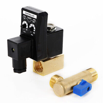 12 Electronic Timed 2 Way Air Compressor Gas Tank Auto Drain Valve Ac 110v 90c