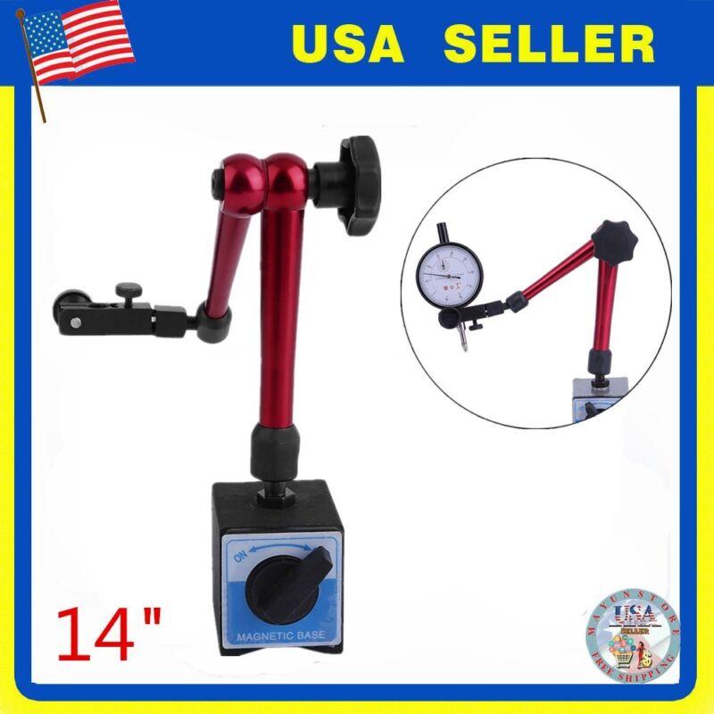 """Magnetic Base Adjustable Metal Test Indicator Holder Digital Level 14"""" Stand New"""