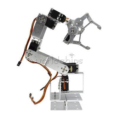6dof Mechanical Robotic Arm Aluminium Robot Clamp Claw Mount Kit For Arduino