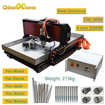 Steel Cnc 6090 4axis 2.2kw Mach 3 Usb Engraver Machine For Metal Copper Brass Us