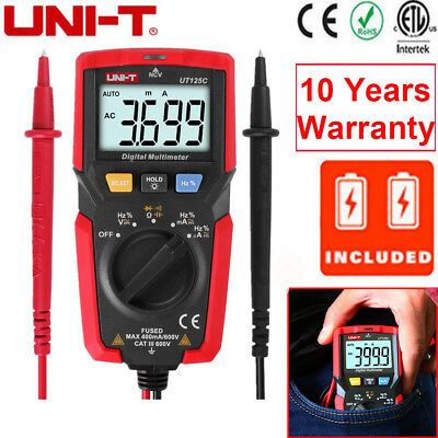 Uni-t Ut125c Handheld Auto Range Ohm Amp Digital Multimeter Acdc Voltage Tester