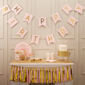 Pastel Pink Happy Birthday Bunting Gold Letters - Birthday Party x 2.5m