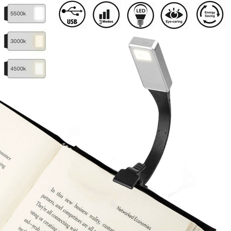 USB Rechargeable Clip On Book Light Mini LED Flexible Reading Lamp Read Light US