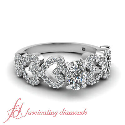 Linked Heart Design Engagement Ring Pave Set 0.80 Ct Cushion Cut VS1 Diamond GIA