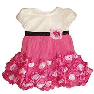 Nannette edles Baby Princess Mädchen Kleid Pink Weiß mit Blumen Rüschen Rock 92