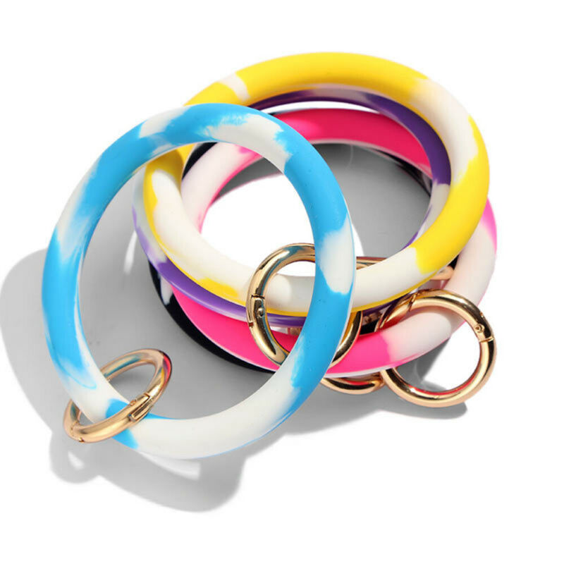 Fashion Silicone Key Ring Keyrings Bracelet Wrist Strap Wris