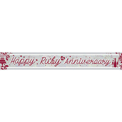 Ruby Wedding 40th Anniversary Banner Party Decoration Bunting Shiny Holographic - Ruby Wedding Anniversary Banners