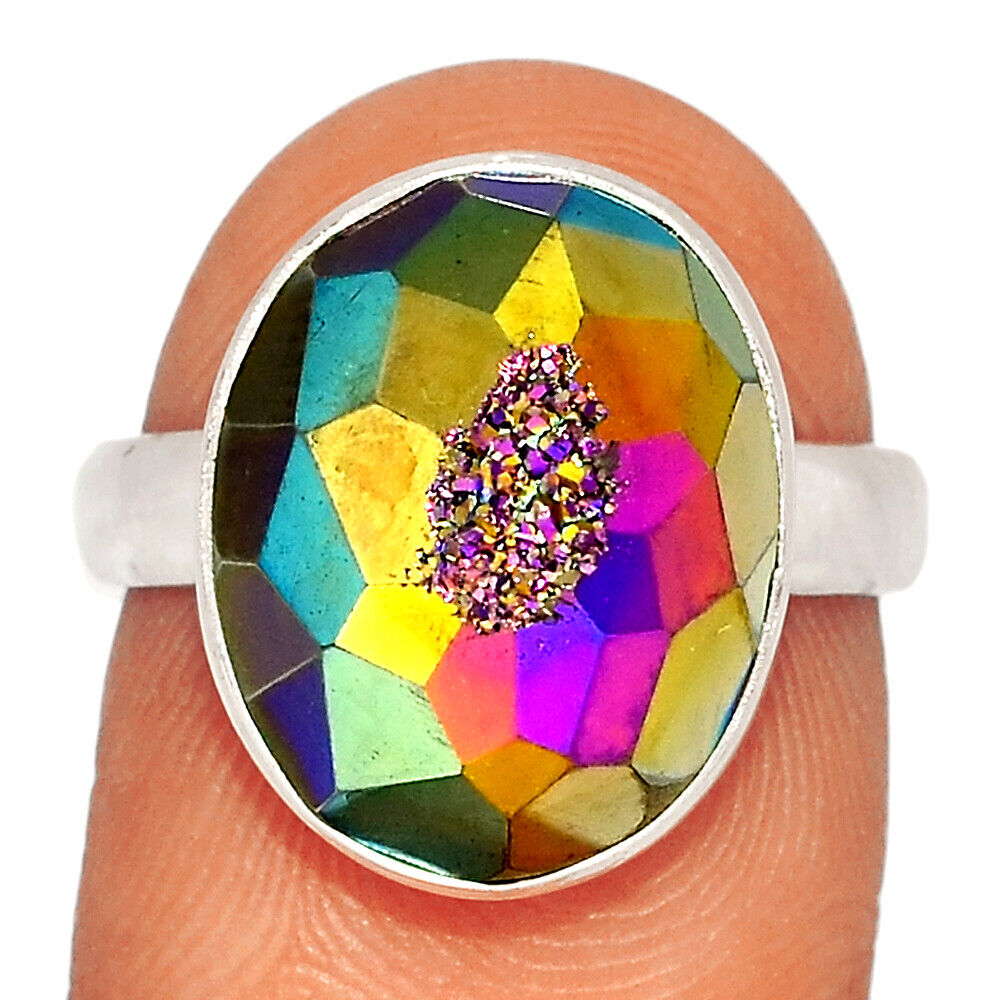 Titanium Aura Druzy 925 Sterling Silver Ring Jewelry S.7 BR22866 - $11.99