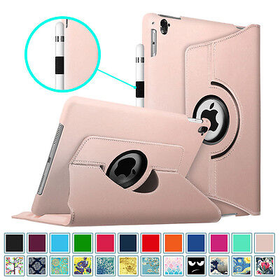 """360 Rotating Case Cover For Apple iPad Pro 9.7"""" & 12.9"""" with Apple Pencil Holder"""