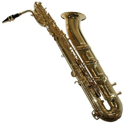 Karl Glaser Bariton Saxophon mit stabilem Soft- Koffer, Mundstück, Messing, Gold