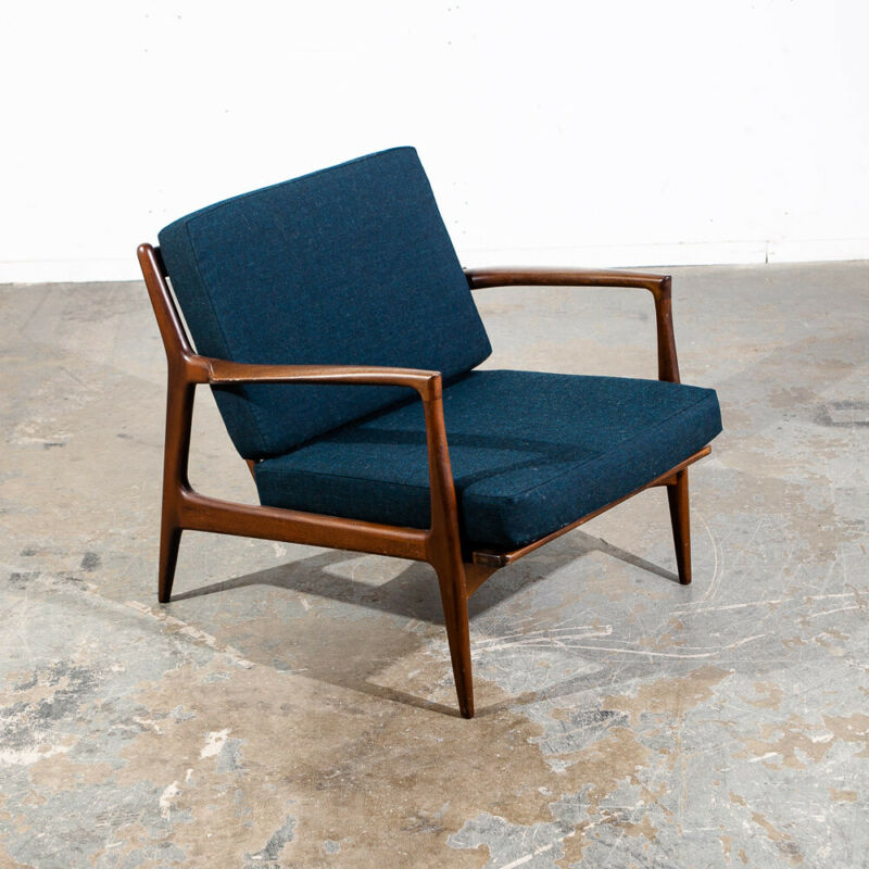 Mid Century Danish Modern Lounge Chair Ib Kofod Larsen Refinished Arm Selig Mcm