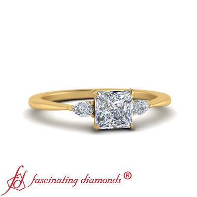 Tapered Shank Three Stone Engagement Ring With 3/4 Carat Princess Cut Diamond