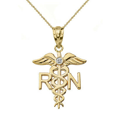 Solid 14k Yellow Gold Diamond RN Registered Nurse Medical Wings Pendant Necklace