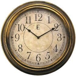 4659G Geneva Clock Company 13.5 Plastic Distressed Brass Analog Wall Clock