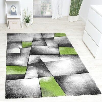 Modern Rug Grey Lime Green Abstract Woven Carpet for Living Room Bedroom Lounge