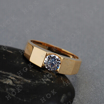 1 Ct Round VVS1 Diamond Solitaire Men's Ring Wedding Band 10k Yellow Gold ()
