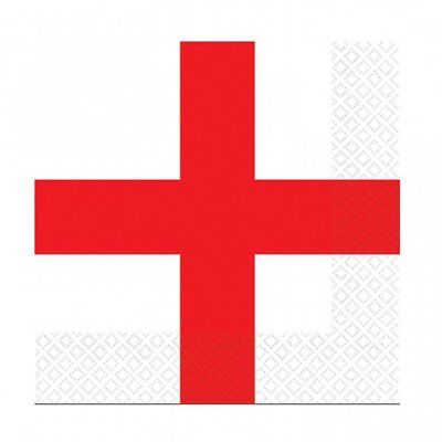 WORLD CUP ENGLAND RED + WHITE NAPKINS SERVIETTES 3 PLY 16 PACK PARTY TABLEWARE