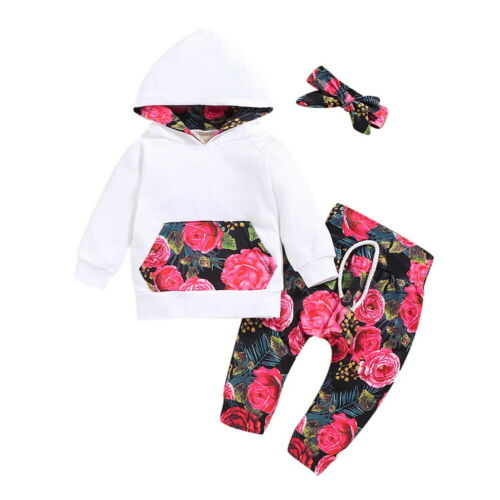 Newborn Baby Girl Kids Toddler Floral Hooded TopsLong Pants Outfits Set Clothes