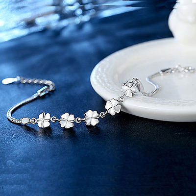 Women Fashion Jewelry 925 Sterling Silver Plated Clover Bangle Chain Bracelet