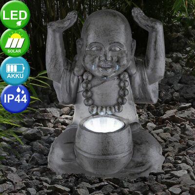 LED Solar Exterior Área Luz Figura de Buda Decoración Terraza Escultura Gris...