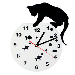 Black Cat and Fishbowl Wall Clock Animals Decor Watch Time Clock Cat Lover Gift