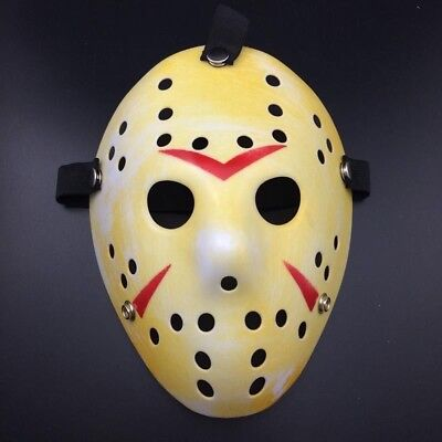 Deluxe Hard Plastic Halloween Horror Jason Ice-Hockey COSTUME MASK Rough Yellow