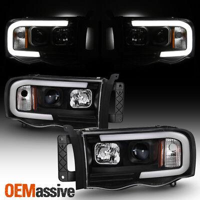 For 02-05 Dodge Ram 1500 | 03-05 2500/3500 Light Bar Projector Headlights Black